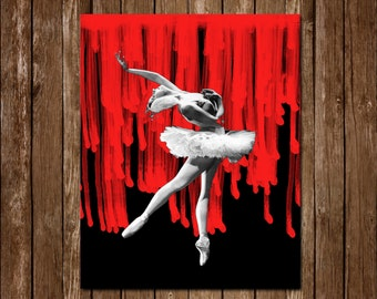 Gothic Bloody Black and White Ballerina Printable Instant Download