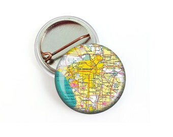 Los Angeles Map Pin Button 1.25 Inch Diameter