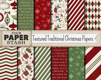 Christmas Digital Paper, Textured Holiday Backgrounds with Ornaments, Stockings, Snowmen, Snowflakes, Traditional Patterns, Commercial Use
