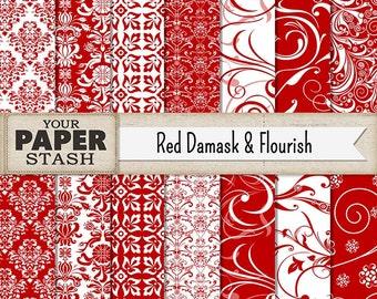 Damask Digital Paper, Red Damask, Red Flourish, Christmas, Digital Paper, Scrapbooking Paper, Paper, Damask Background, Elegant, Wedding