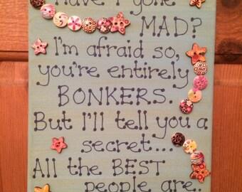 Alice in Wonderland / Lewis Carroll Quote Canvas 20 x 25cm