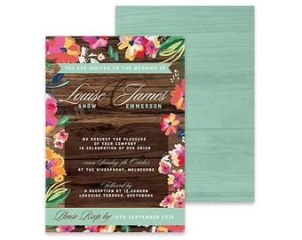 Tropical Wedding Invitation | The Treehouse | Printable DIY Invite, Affordable Wedding Invitation | Tropical, beach wedding, wood grain