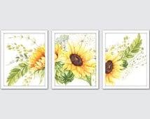 Watercolor Sunflower Art Print, Sunflower Art Prints, Sunflower Hand Painted Flowers Art, Floral Watercolor Painting, Floral Decor Prints