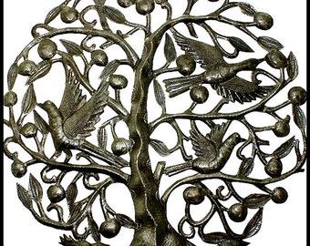 """Tree - Birds Metal Wall Hanging - Metal Wall Art - 30"""" - Haitian Metal Art - Recycled Steel Drum, Handcrafted Metal Art of Haiti - 5007-30"""