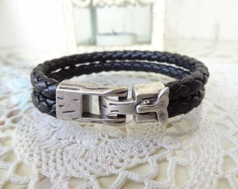 EXPRESS SHIPPING,Braided Leather Men's Bracelet, Black Genuine Leather Bracelet,  Whale Tail Men's  Bracelet, Cuff  Bracelet, Father's Day