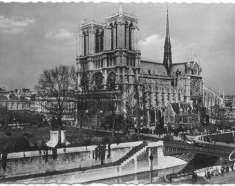 Notre Dame Cathedral PARIS France Real Photo by GUY Vintage RPPC  Postcard Carte Postale  Post Card