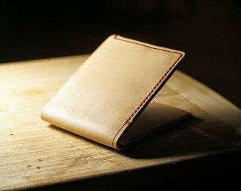 Natutal/Red VegTan Leather Billfold Wallet Hand Stitched