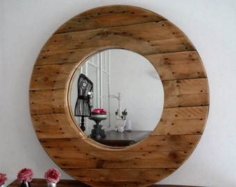 Large blond wood mirror