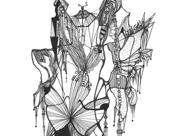 Print of original illustration 'Elissia' - Black and White.