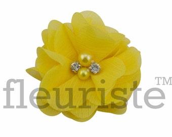 "YELLOW 2"" Chiffon Flower, Wholesale Flower, Fabric Flower, Headband Flower, Wedding Flower, Flower Embellishment, Diy Flower, Headband"