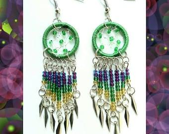 Green Dreamcatcher Earrings // Dream Catcher Earrings
