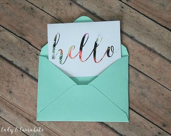 hello bloom foldable digital download notecard with envelope template