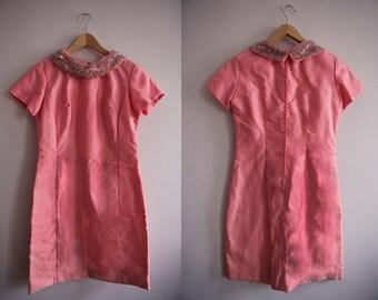 60s Pink Beaded Collar Dress