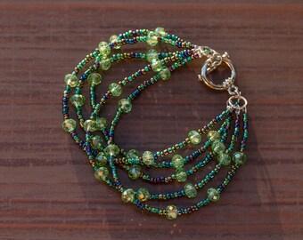 Multi Strands Green Crystal Bracelet