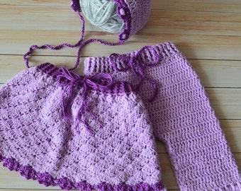 Newborn photoprop set: bonnet&skirt and pants