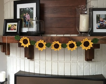 Crocheted sunflower garland