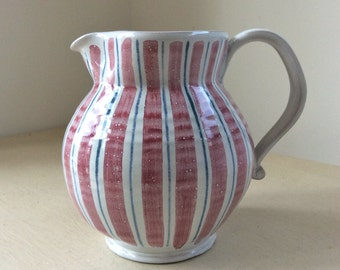 Sweet Vintage c1950s Handpainted RYE POTTERY Red White & Blue Candy Stripe JUG Pitcher