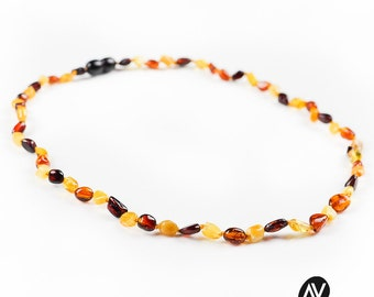 Baltic amber bead necklace   Bean style amber necklace   Multicolour natural amber necklace   Amber necklace for adults   AV0169