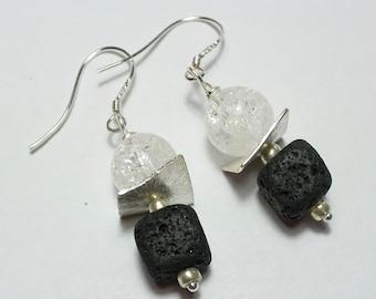 Black Lava and Rock Crystal Earrings