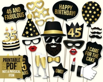 45th birthday photo booth props: printable PDF. Black and gold forty fifth birthday party supplies. Instant download Mustache, lips, glasses