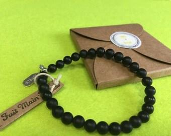 WOMAN Bracelet - Onyx Black lithotherapy-6 mm - unique model