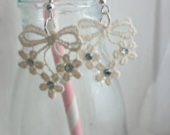 Lace flower and bow charm earrings