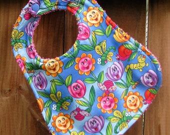 SALE - 20% OFF Bib - Baby Bib - Happy Flowers Baby Bib - Flower Bib for Baby Girl - Drool Bib - Shower Gift for Baby Girl - Handmade Bib