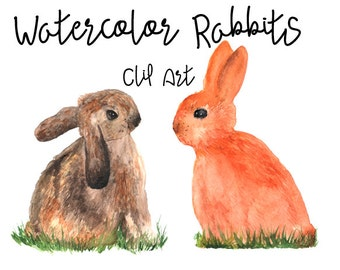 Watercolor Rabbits - Clip Art - Nursery Decor