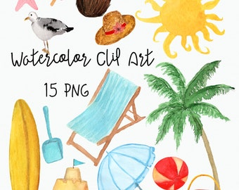 Hand-painted Watercolor Beach Clip Art