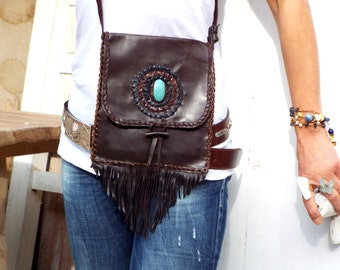 Native American inspired.Crossbody Leather Bag. Boho Bag. Tribal Handmade. Handmade Leather bag. Fringes leather bag. Shoulder Bag. Vintage