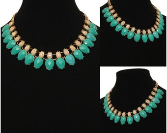 New Aqua Green Stone Gold Chain Statement Collar Necklace