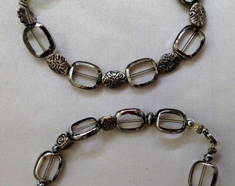 Silver and Glass Bead Bracelets