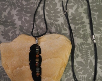 Recycled Leather Feather Necklace, Picasso Jasper and Antique Silver Plated Beads