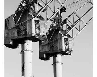Metal Cranes Manchester, Instant Download, Black And White Photography, Cityscape Photography, Machinery, Industrial, Urban Wall Art