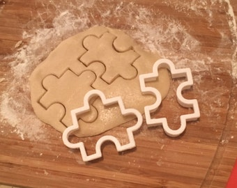 3D Printed Puzzle Piece Cookie Cutters (Set of 2) // Baking Supplies