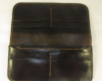 Dark Brown Leather Long wallet with 8 card slots/3 long slots/1 zippered Pocket