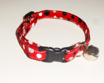 Breakaway Kitten Collar - Red Dots