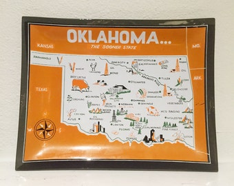 Oklahoma State Vintage Souvenir Tray