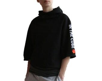 Black crop top hoodie cyberpunk