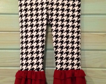 Infant and Toddler Houndstooth knit leggings with crimson ruffle by That's Sew Mimi