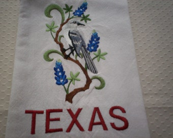 texas mockingbird and bluebonnet embroidered tea towel texas state bird and state flower embroidered flour