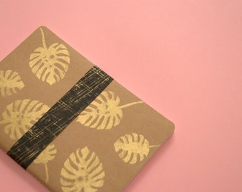 Notebook plant leaf gilt, handpeinted cover, philodendron leaf gilt, diary, pad, original gift for her and him.
