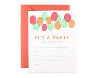 Set of 8 Fill-In Invitation Set // Letterpress Balloon Invitation Set