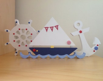 Hand Painted Wooden Boat, Anchor & Ship Wheel Set