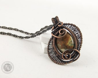 Dual Eye - Copper wire wrapped Jasper stone