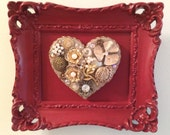 Heart Art with Vintage Jewelry Assemblage in Red Ornate Frame