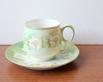 Green and White Flower Demitasse Cup and Saucer Austria