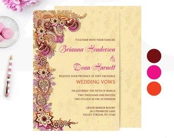 Indian Wedding Invitation - Printable Wedding Shower Invites - Hindu Wedding Invitation - Mehndi Henna | A1