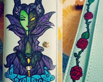 Custom Painted Wallet - Maleficent Dragon on Stained Glass