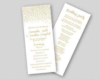 Wedding Program Template Gold Glitter, Order of Ceremony Template, Wedding Party, Wedding Ceremony Program - Gold Glitter Sparkles Confetti